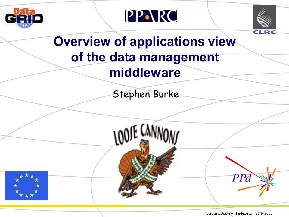 Stephen Burke – Heidelberg - 26/9/2003 Partner Logo Overview of applications view of the data management middleware Stephen Burke