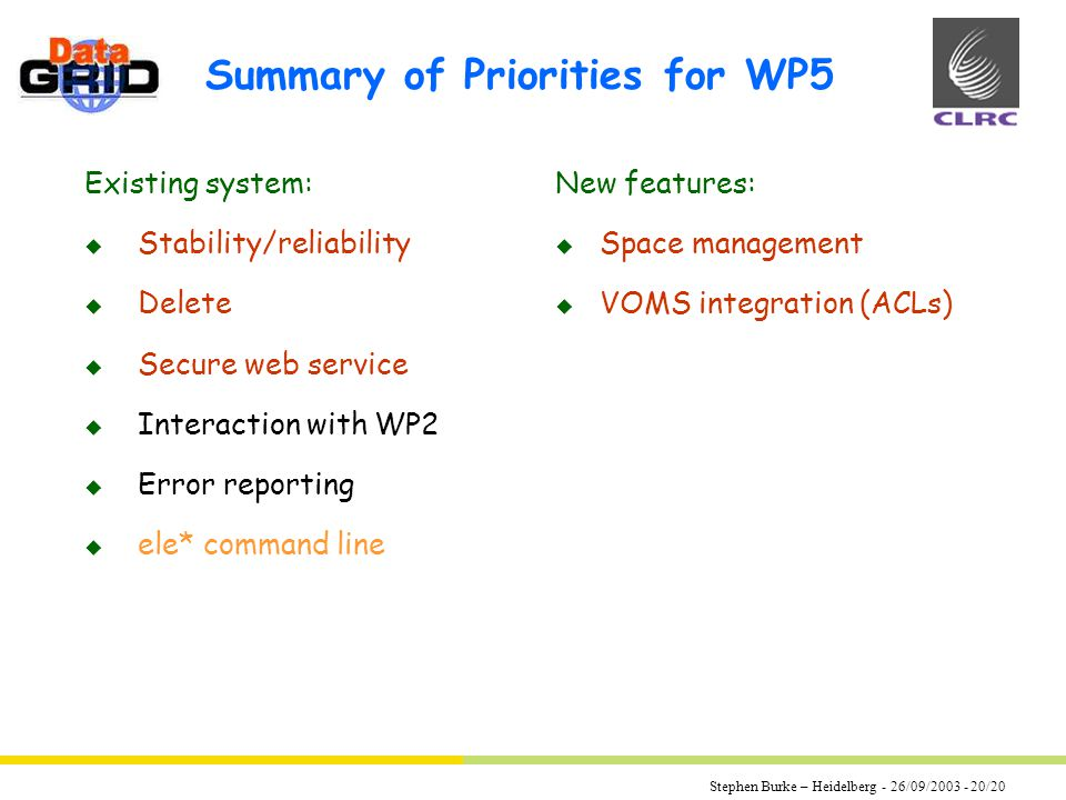 Stephen Burke – Heidelberg - 26/09/2003 - 20/20 Summary of Priorities for WP5 Existing system: u Stability/reliability u Delete u Secure web service u Interaction with WP2 u Error reporting u ele* command line New features: u Space management u VOMS integration (ACLs)