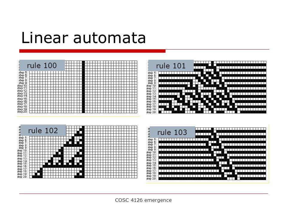 COSC 4126 emergence Linear automata rule 100 rule 101rule 102rule 103