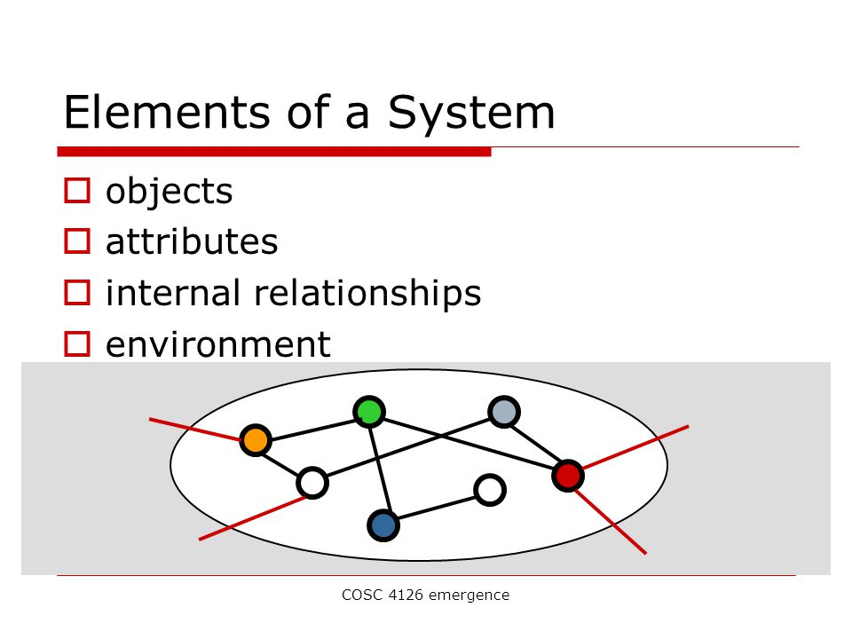 COSC 4126 emergence Elements of a System  objects  attributes  internal relationships  environment