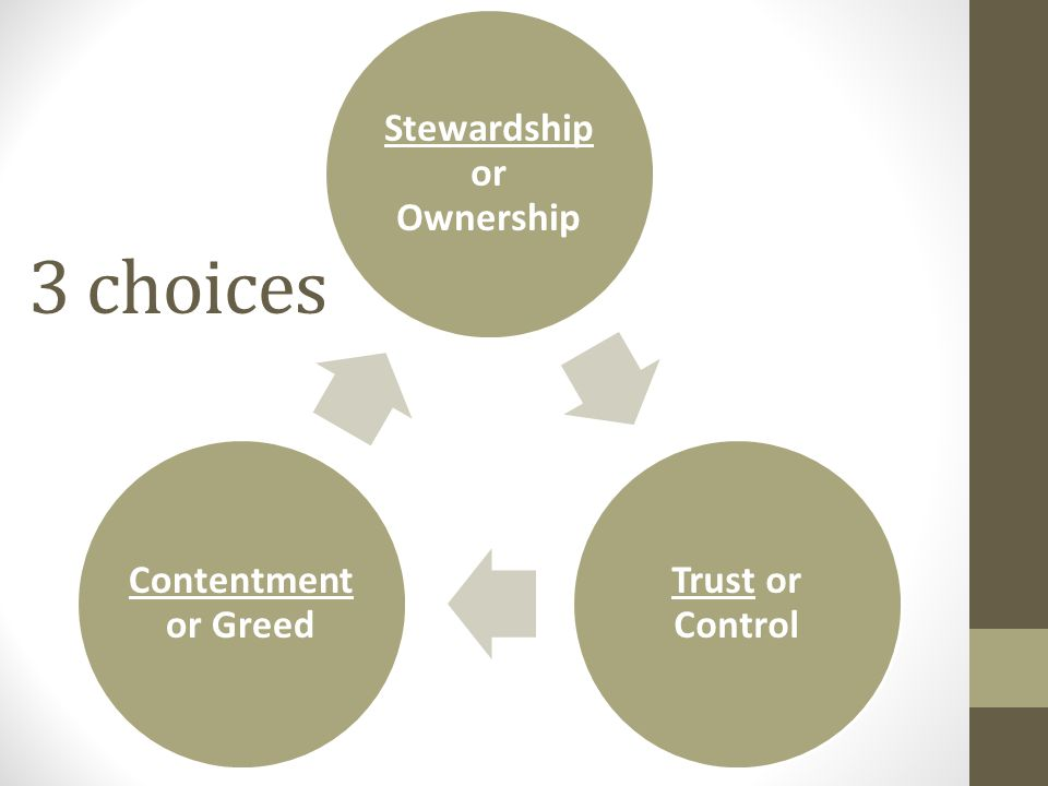 Stewardship or Ownership Trust or Control Contentment or Greed 3 choices