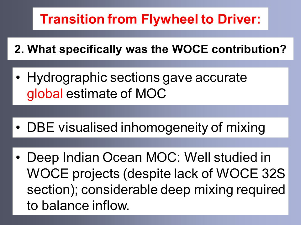 Transition from Flywheel to Driver: Importance of mixing in MOC dynamics Nature and location of mixing matter but are unknown (interior & boundary mixing; base of SO mixed layer; energetics) 1.