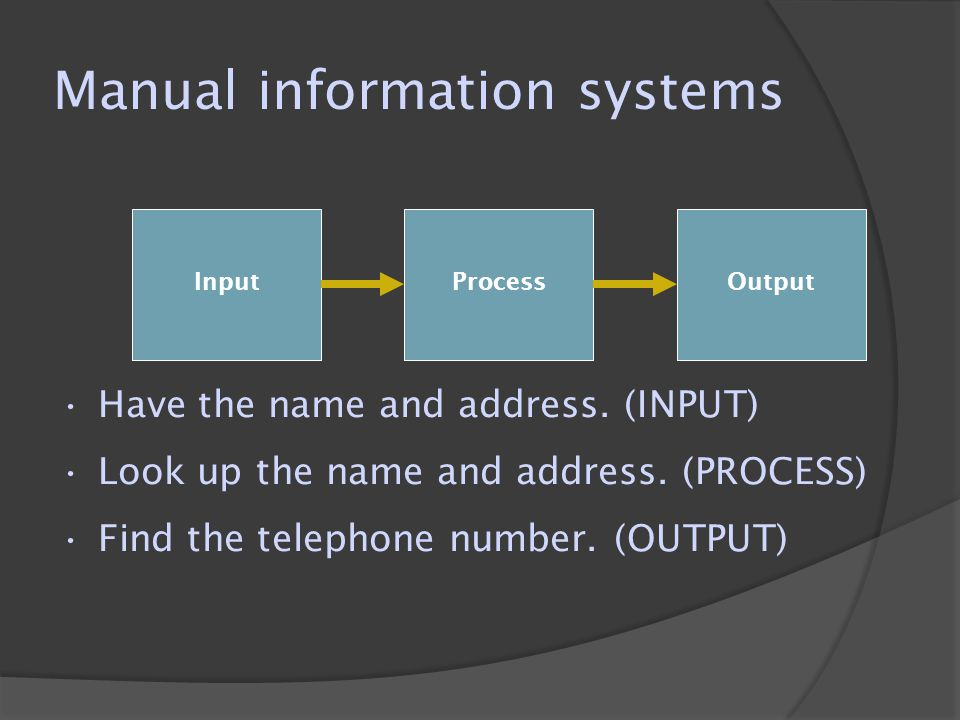 Manual information systems  However, if the name is a common one or the address is incomplete, the process of finding the telephone number becomes more difficult.