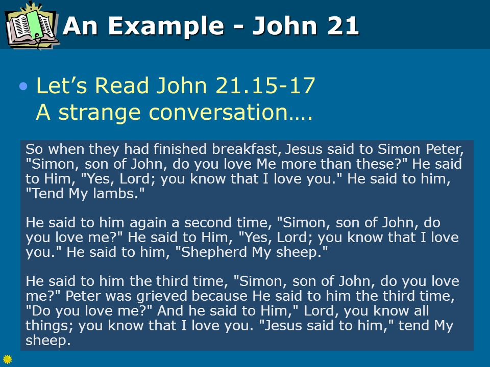 An Example - John 21 Let's Read John 21.15-17 A strange conversation….