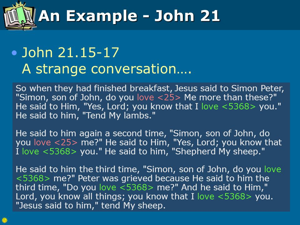 An Example - John 21 John 21.15-17 A strange conversation….