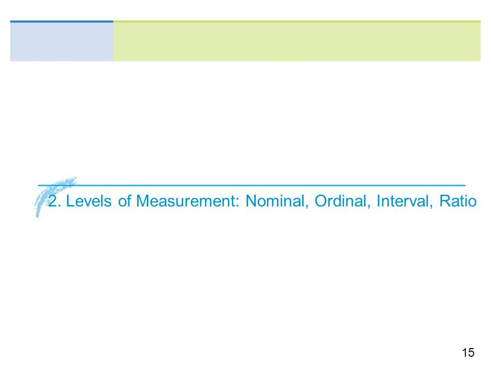15 2. Levels of Measurement: Nominal, Ordinal, Interval, Ratio