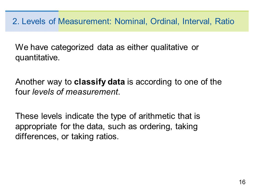16 2. Levels of Measurement: Nominal, Ordinal, Interval, Ratio We have categorized data as either qualitative or quantitative. Another way to classify