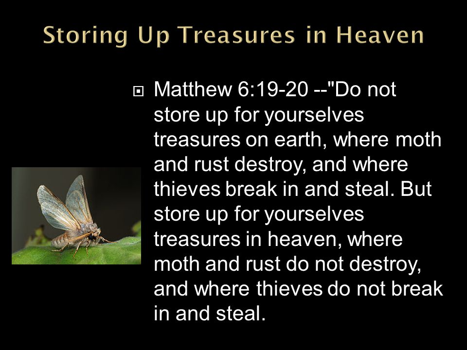  Matthew 6:19-20 -- Do not store up for yourselves treasures on earth, where moth and rust destroy, and where thieves break in and steal.