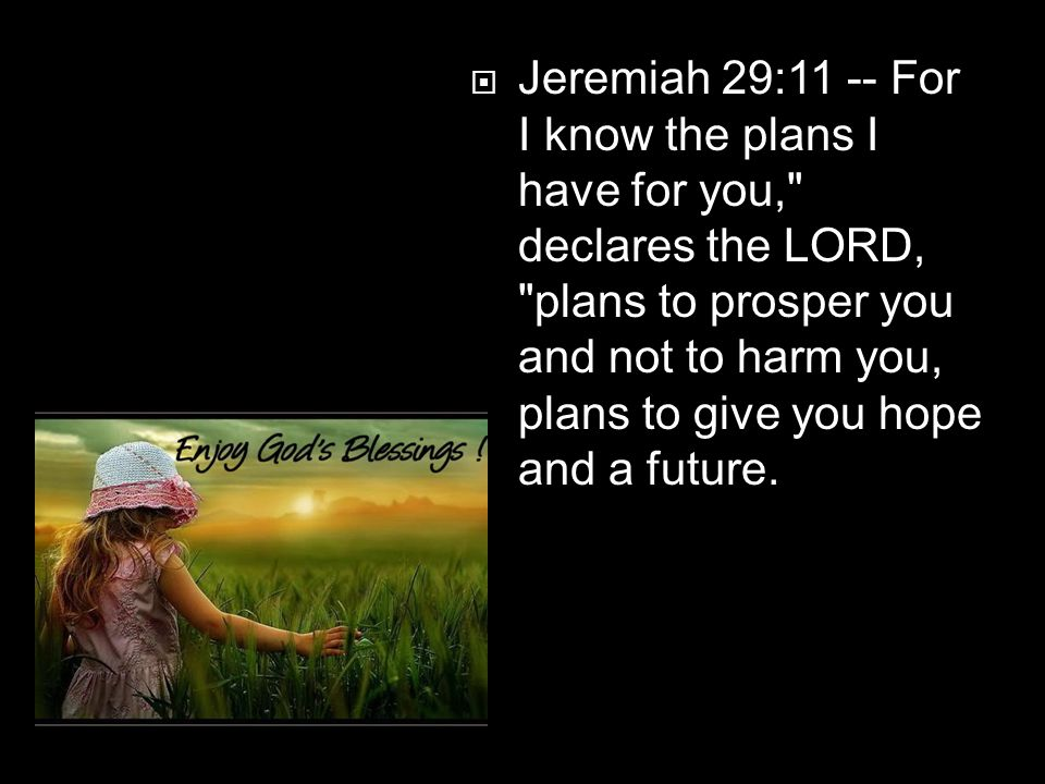  Jeremiah 29:11 -- For I know the plans I have for you,
