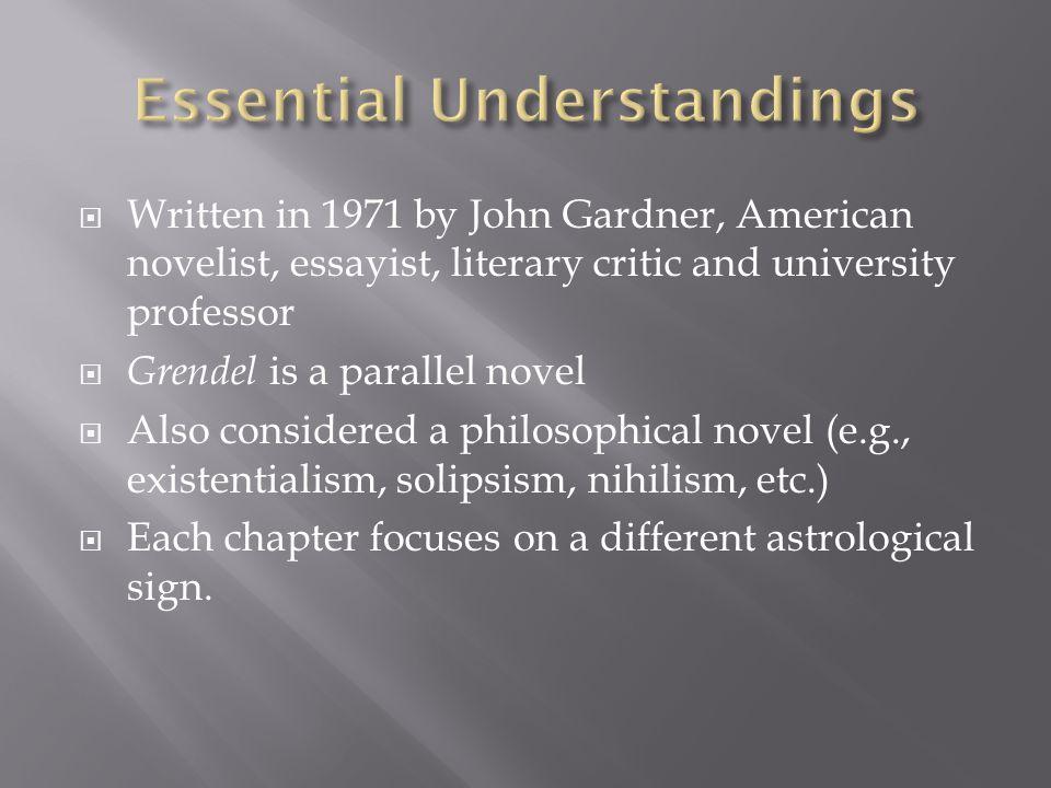  Written in 1971 by John Gardner, American novelist, essayist, literary critic and university professor  Grendel is a parallel novel  Also consider