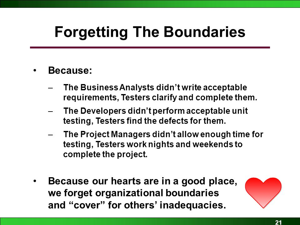 21 Forgetting The Boundaries Because: –The Business Analysts didn't write acceptable requirements, Testers clarify and complete them.