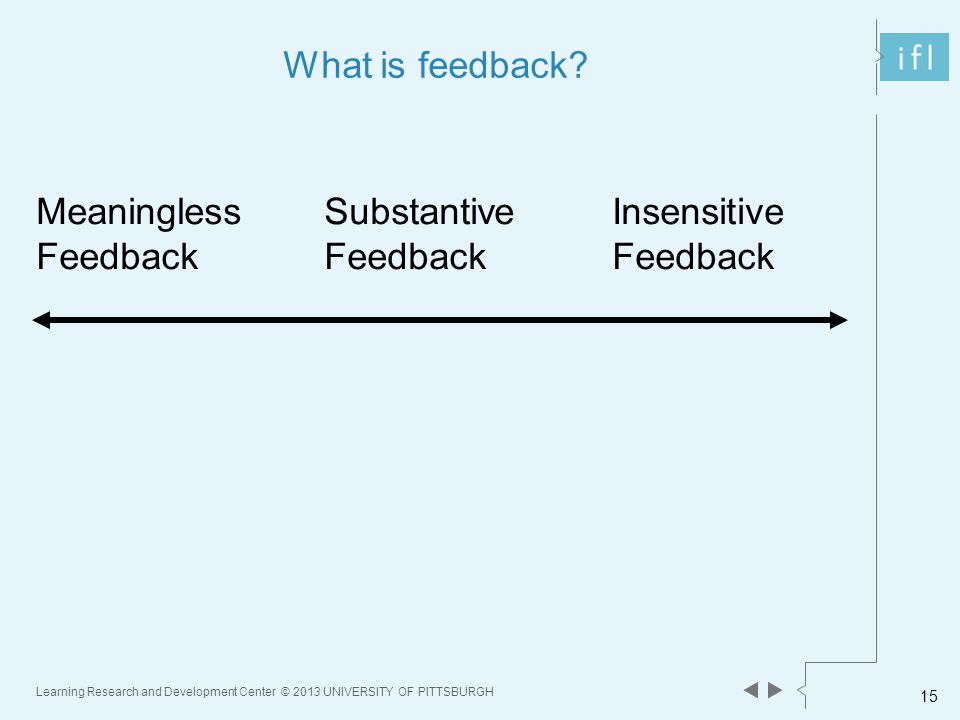 Learning Research and Development Center © 2013 UNIVERSITY OF PITTSBURGH 15 What is feedback.