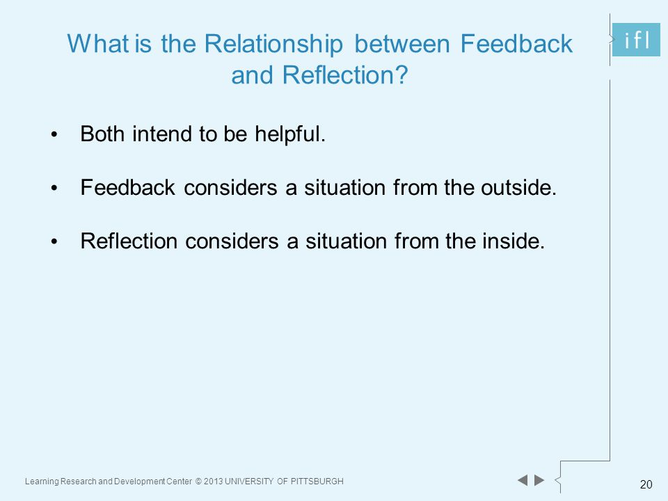 Learning Research and Development Center © 2013 UNIVERSITY OF PITTSBURGH 20 What is the Relationship between Feedback and Reflection.