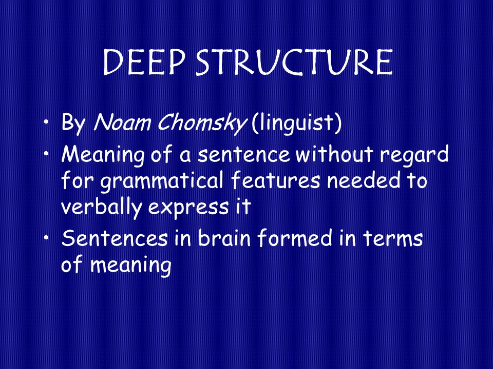 DEEP STRUCTURE By Noam Chomsky (linguist) Meaning of a sentence without regard for grammatical features needed to verbally express it Sentences in brain formed in terms of meaning