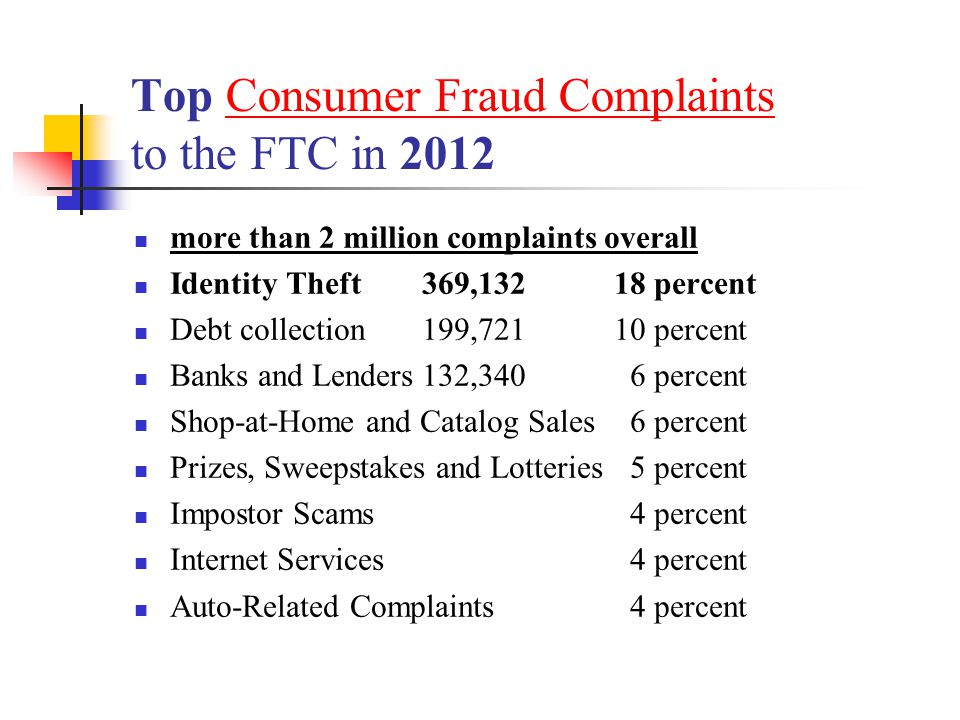 Top Consumer Fraud Complaints to the FTC in 2012Consumer Fraud Complaints more than 2 million complaints overall Identity Theft 369,13218 percent Debt