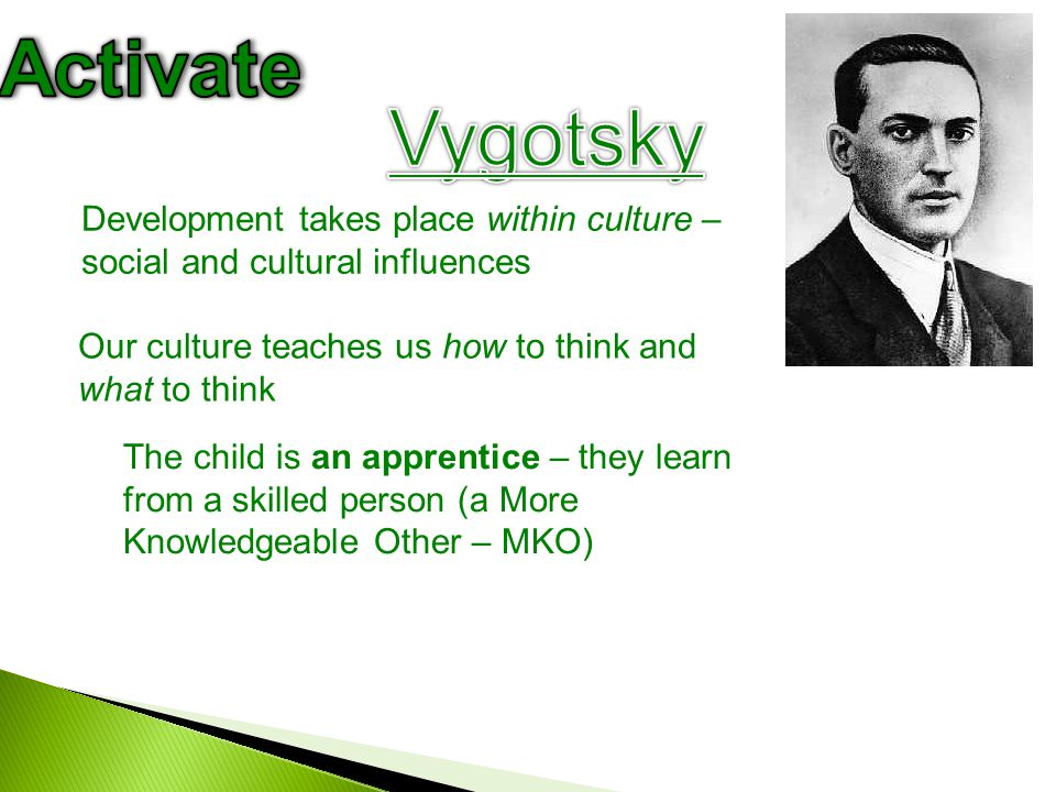 IssuePiaget's viewVygotsky's view Source of cognitive development Cognitive development is driven by an inbuilt tendency to adapt to new experiences Cognitive development is driven by social interaction experience within a culture Concept acquisitionChild learns through active self-discovery - a mainly solitary process of adaptation of schemas Child learns through instruction and guidance - results from social experience Role of instructionChild will only learn when ready Cognitive development can be accelerated - increases scope of cognitive development, by enabling learning Language and thoughtLanguage develops as a result of cognitive development.