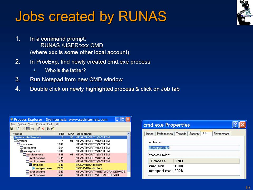 10 Jobs created by RUNAS 1.