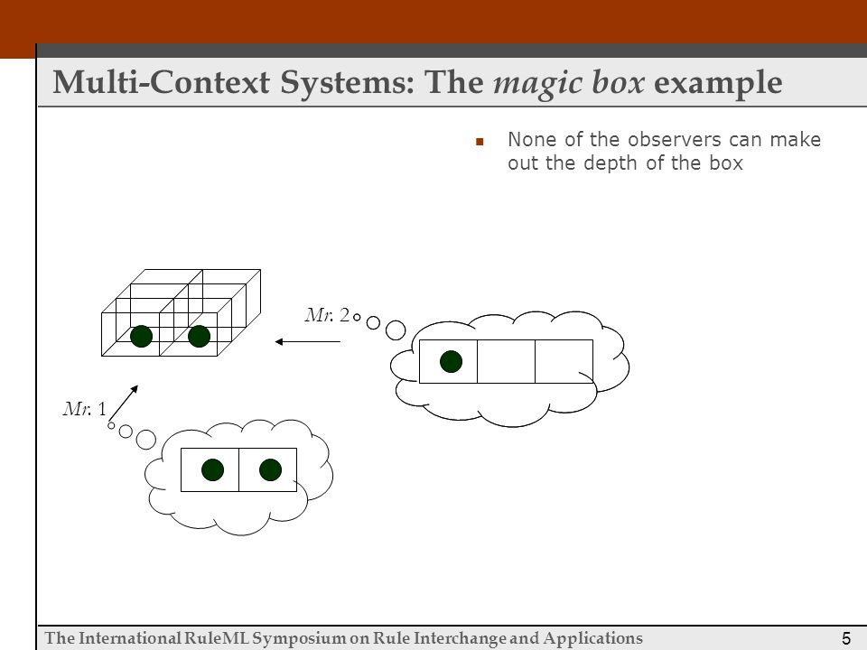 The International RuleML Symposium on Rule Interchange and Applications 26 P2P_DR dl Properties Termination  The algorithm is guaranteed to terminate returning either a positive or a negative answer for the queried literal  Holds due to cycle detection Number of Messages  The total number of messages exchanged between contexts for the computation of a single query is in the worst case O(n l xn 2 )  Worst Case all contexts have defined mappings that involve literals from all other contexts and the evaluation of the query requires checking the mapping rules of all contexts  This is a consequence of two states that we retain for each context, which keep track of the incoming and outgoing queries of the context