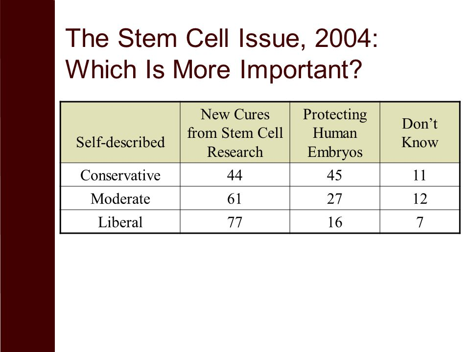 The Stem Cell Issue, 2004: Which Is More Important.
