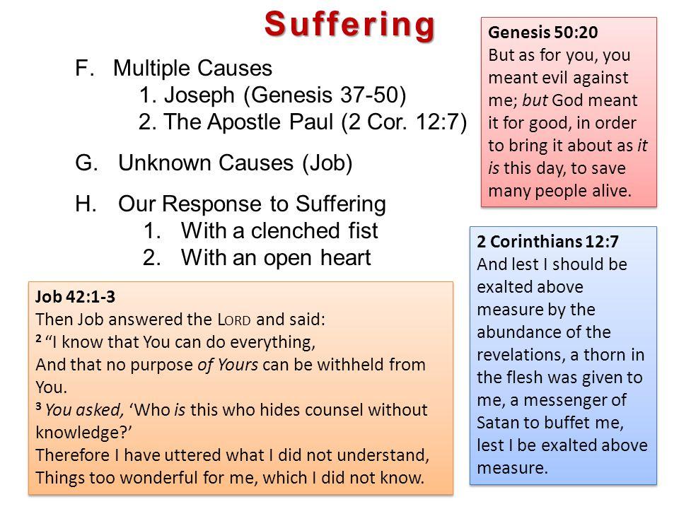 Suffering F.Multiple Causes 1. Joseph (Genesis 37-50) 2.