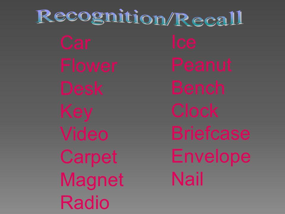 Car Flower Desk Key Video Carpet Magnet Radio Ice Peanut Bench Clock Briefcase Envelope Nail