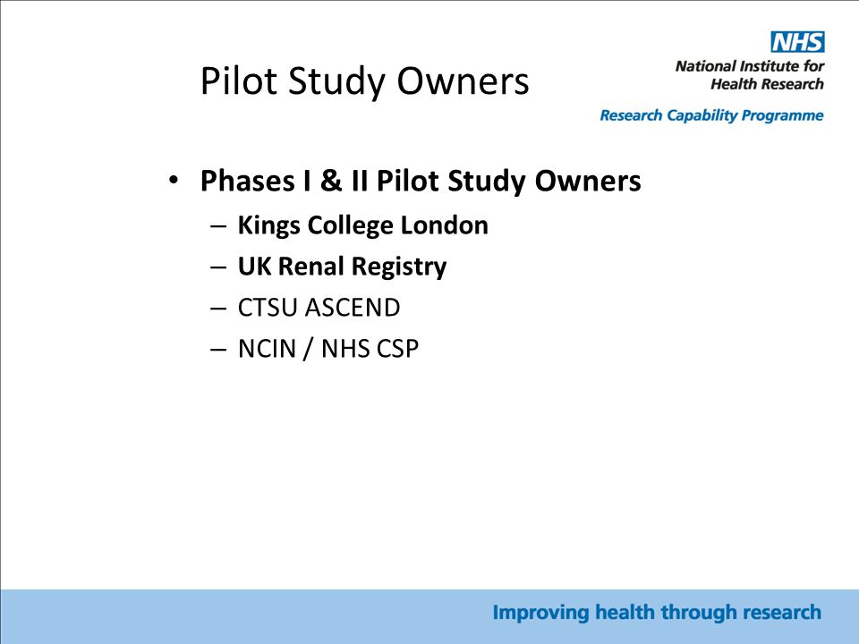 Pilot Study Owners Phases I & II Pilot Study Owners – Kings College London – UK Renal Registry – CTSU ASCEND – NCIN / NHS CSP