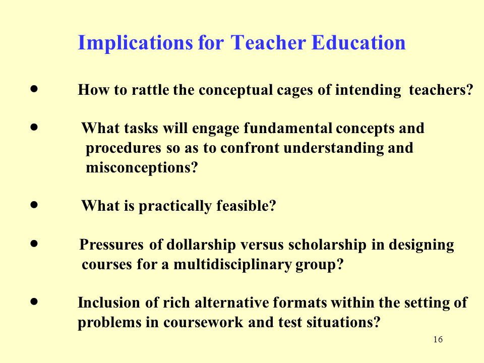 16 ● How to rattle the conceptual cages of intending teachers.