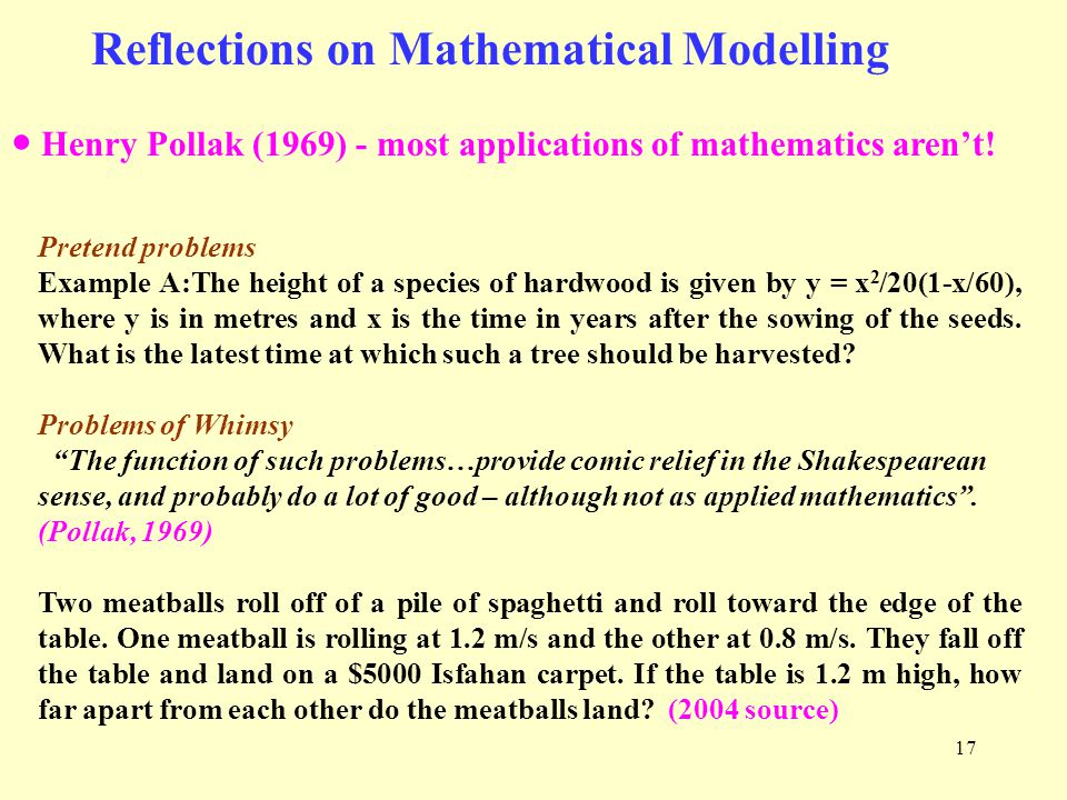 17 Reflections on Mathematical Modelling ● Henry Pollak (1969) - most applications of mathematics aren't.