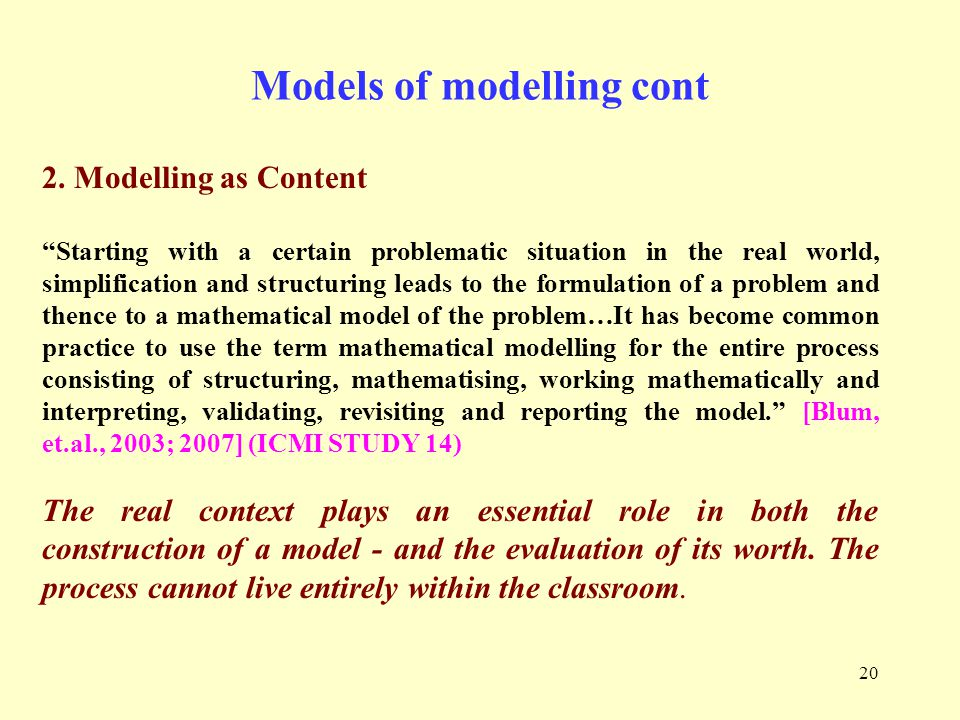 20 Models of modelling cont 2.