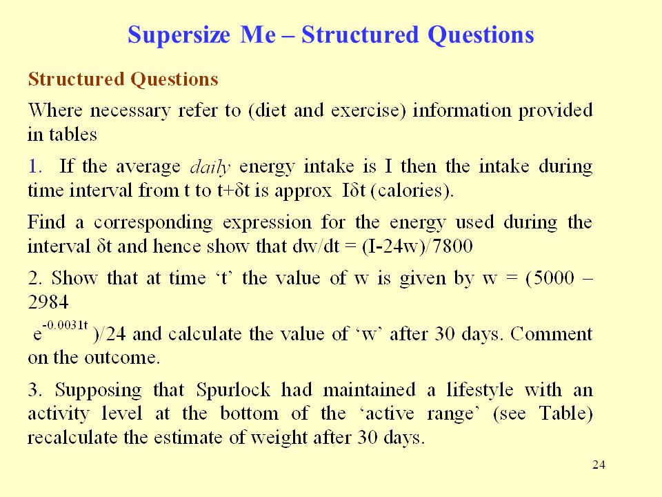 24 Supersize Me – Structured Questions