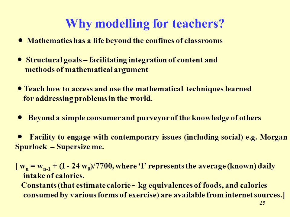 25 Why modelling for teachers.