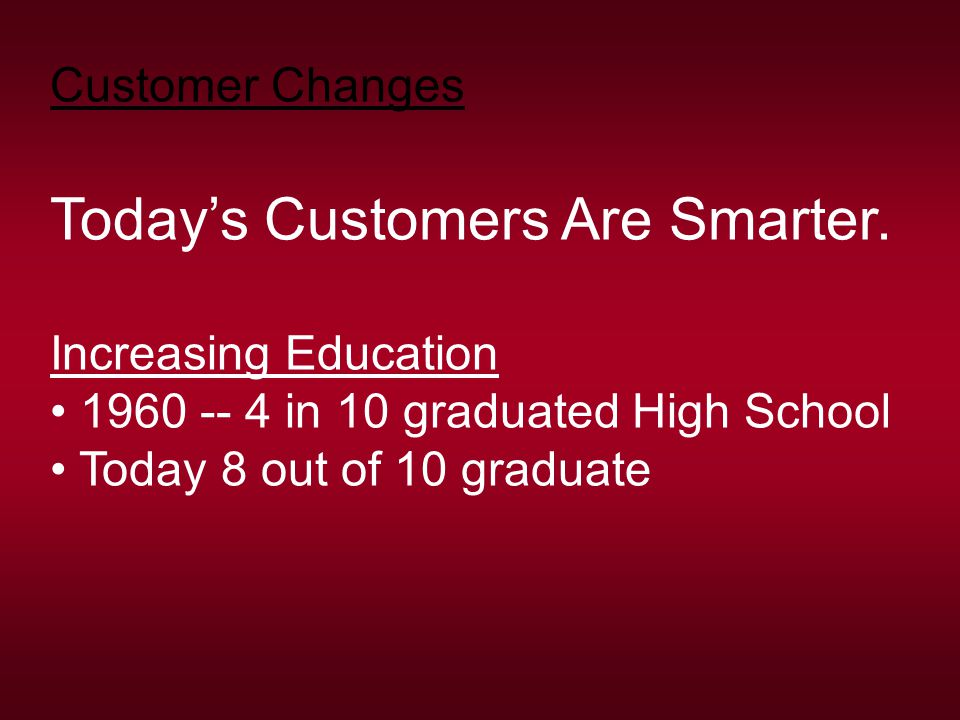 Customer Changes Today's Customers Are Smarter. Increasing Education 1960 -- 4 in 10 graduated High School Today 8 out of 10 graduate