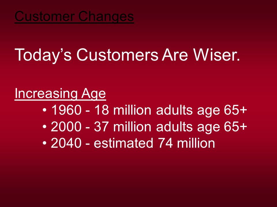 Customer Changes Today's Customers Are Wiser.