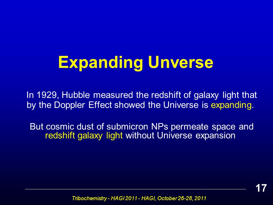 Expanding Unverse In 1929, Hubble measured the redshift of galaxy light that by the Doppler Effect showed the Universe is expanding.