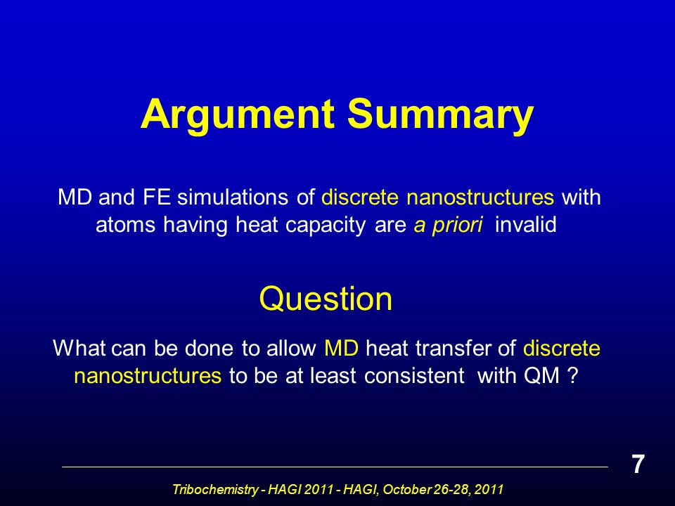 MD and FE simulations of discrete nanostructures with atoms having heat capacity are a priori invalid Question What can be done to allow MD heat transfer of discrete nanostructures to be at least consistent with QM .