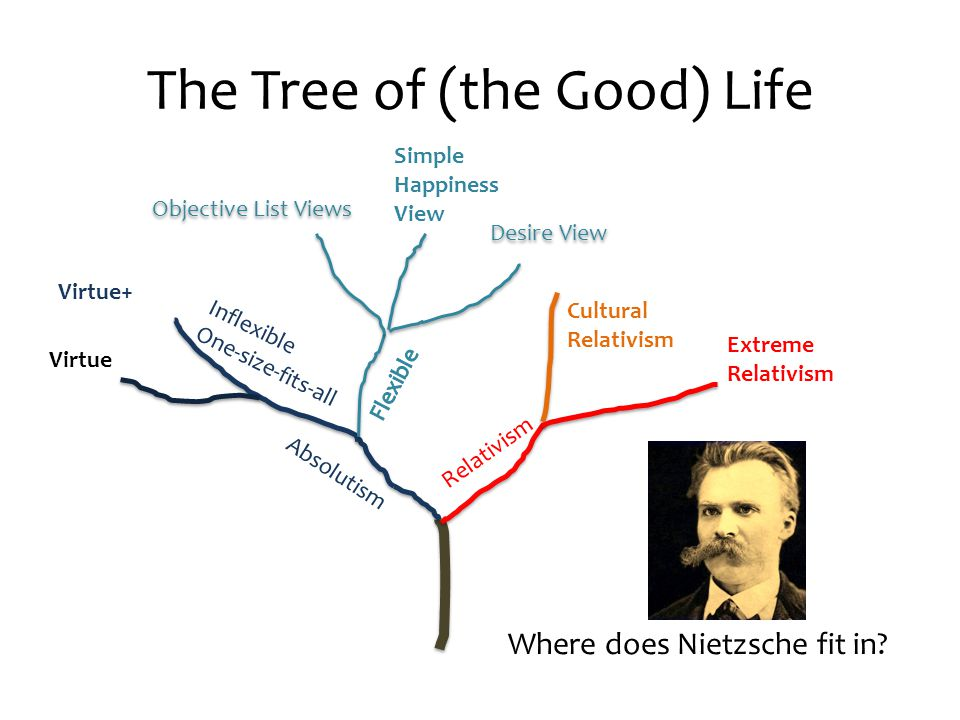 The Tree of (the Good) Life Relativism Absolutism Inflexible One-size-fits-all Virtue+ Simple Happiness View Desire View Objective List Views Cultural Relativism Extreme Relativism Virtue Where does Nietzsche fit in