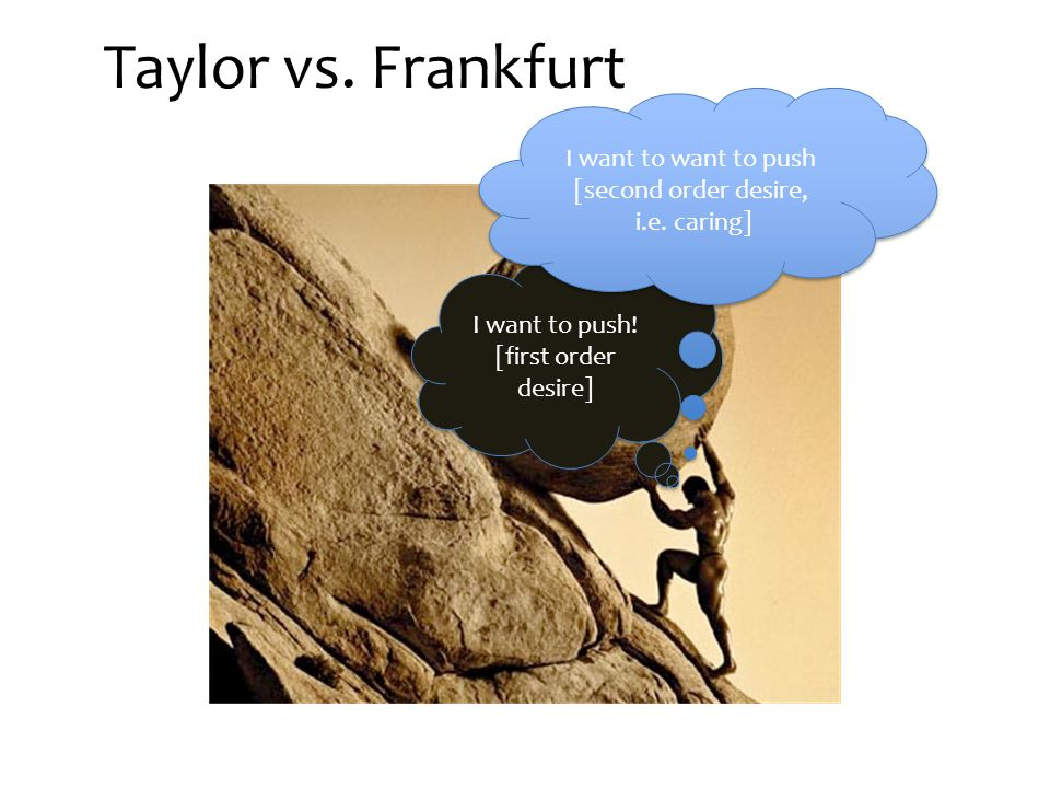 Taylor vs. Frankfurt I want to push. [first order desire] I want to push.