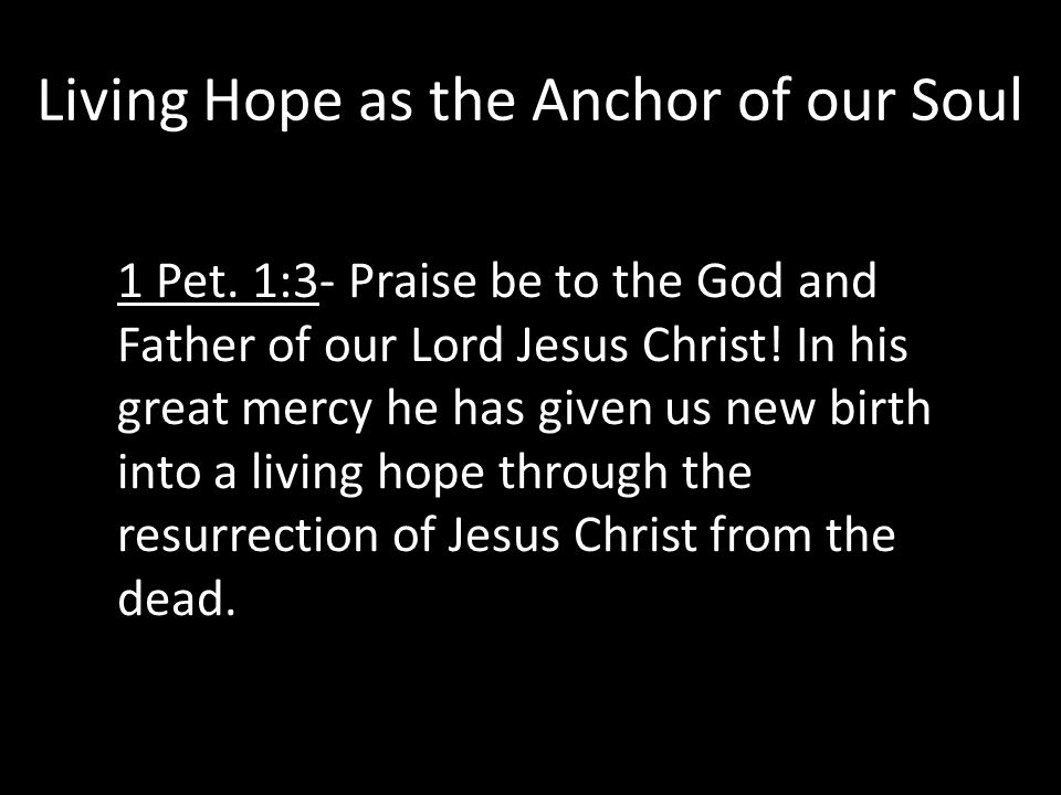 Living Hope as the Anchor of our Soul 1 Pet.