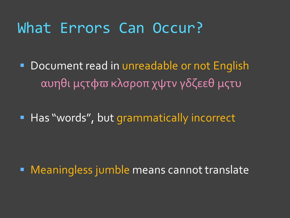 What Errors Can Occur.