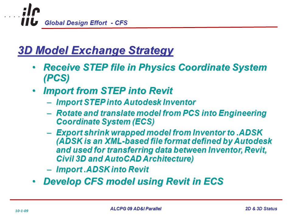 Global Design Effort - CFS ALCPG 09 AD&I Parallel 10-1-09 2D & 3D Status 3D Model Exchange Strategy Receive STEP file in Physics Coordinate System (PCS)Receive STEP file in Physics Coordinate System (PCS) Import from STEP into RevitImport from STEP into Revit –Import STEP into Autodesk Inventor –Rotate and translate model from PCS into Engineering Coordinate System (ECS) –Export shrink wrapped model from Inventor to.ADSK (ADSK is an XML-based file format defined by Autodesk and used for transferring data between Inventor, Revit, Civil 3D and AutoCAD Architecture) –Import.ADSK into Revit Develop CFS model using Revit in ECSDevelop CFS model using Revit in ECS