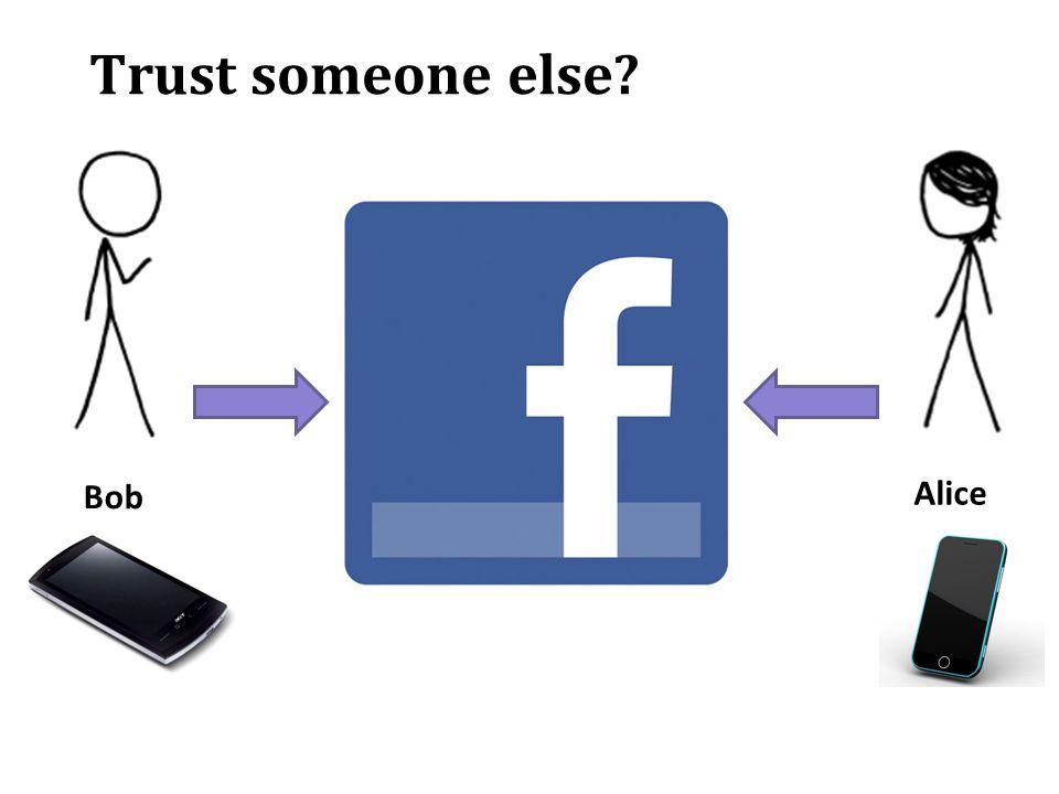 Trust someone else? Alice Bob