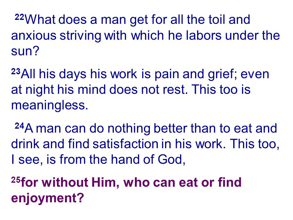 22 What does a man get for all the toil and anxious striving with which he labors under the sun? 23 All his days his work is pain and grief; even at n
