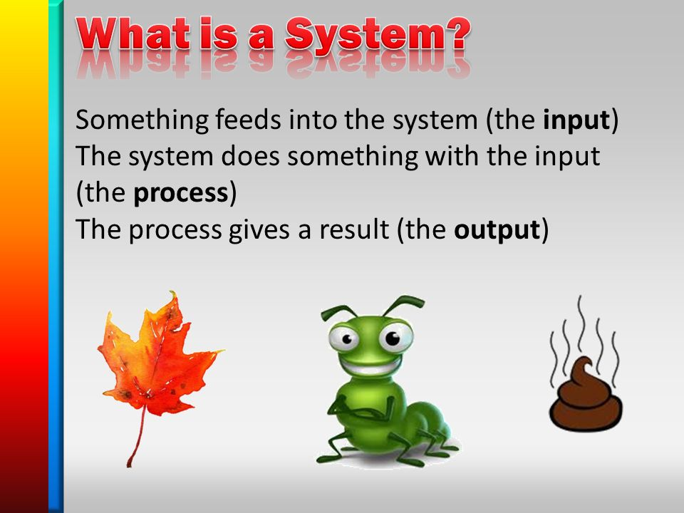 Something feeds into the system (the input) The system does something with the input (the process) The process gives a result (the output)