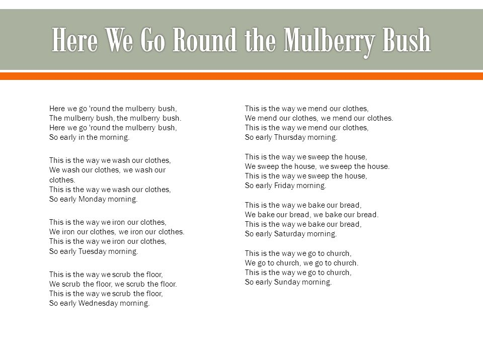 Here we go round the mulberry bush, The mulberry bush, the mulberry bush.