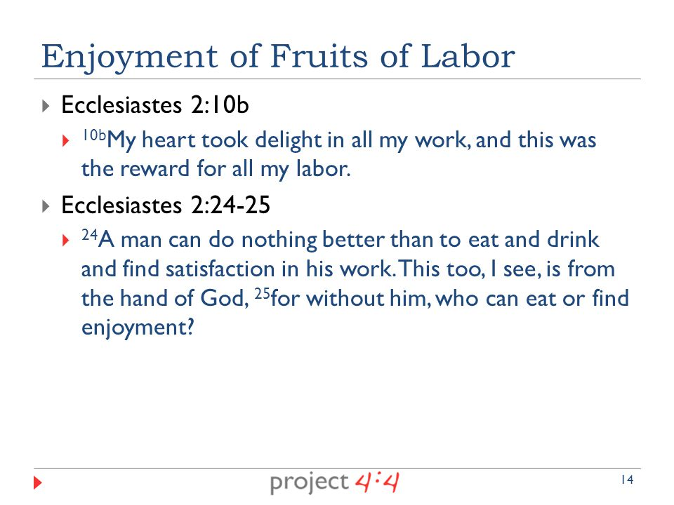  Ecclesiastes 2:10b  10b My heart took delight in all my work, and this was the reward for all my labor.