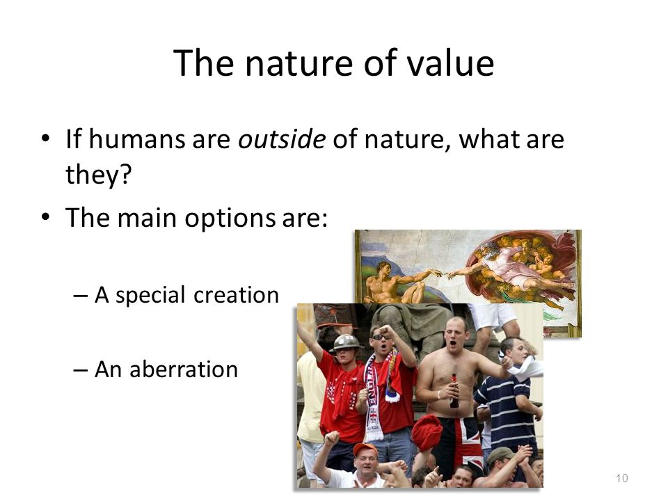 The nature of value If humans are outside of nature, what are they.