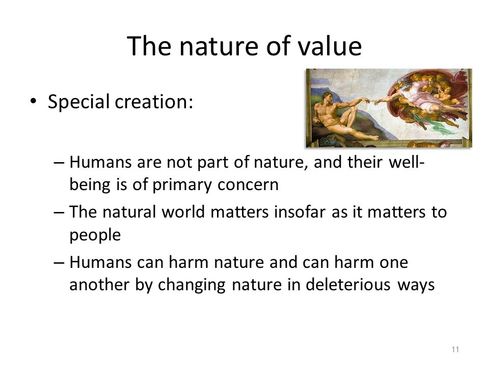 The nature of value Special creation: – Humans are not part of nature, and their well- being is of primary concern – The natural world matters insofar as it matters to people – Humans can harm nature and can harm one another by changing nature in deleterious ways 11