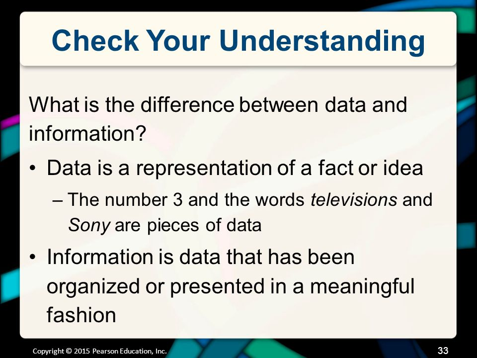Check Your Understanding What is the difference between data and information? Data is a representation of a fact or idea –The number 3 and the words t
