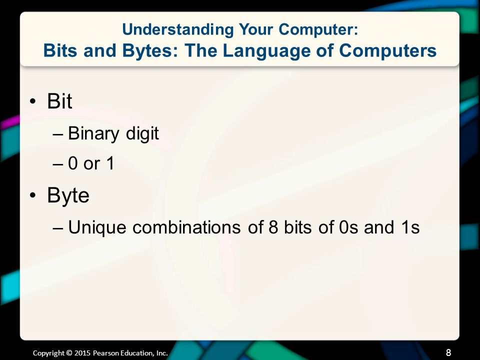 Understanding Your Computer: Bits and Bytes: The Language of Computers Bit –Binary digit –0 or 1 Byte –Unique combinations of 8 bits of 0s and 1s Copy