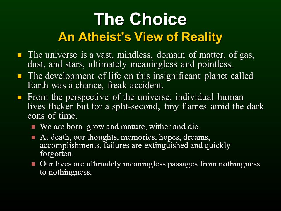 The Choice An Atheist's View of Reality The universe is a vast, mindless, domain of matter, of gas, dust, and stars, ultimately meaningless and pointless.